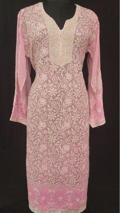 Details about  /Georgette Mukaish Work Kurti Lucknawi Chikan Handmade Bollywood Designer Kurti