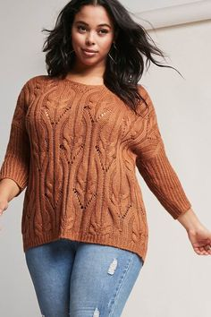 FOREVER 21+ Plus Size Open-Knit Sweater #plussize #fashionaddict #trends #fashion #trendsetter aff