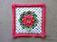 When I designed this square, I let my hook and yarn inspire the next step and trusted them to guide me. When I was done and looked at what I had created, I was blown away. This beautiful flower stands with the color palette I have chosen, but is sure to be just as beautiful with any other color combinations.