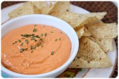 Roasted red pepper garbanzo bean dip.  Yummy, but it looks like it makes a ton!  Will have to make 1/2 and probably use less cheese