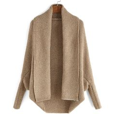 Lapel Batwing Sleeve Knit Cardigan (27 CAD) ❤ liked on Polyvore featuring tops, cardigans, khaki, khaki cardigan, brown tops, brown cardigan, knit tops and loose long sleeve tops