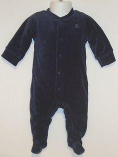 EXCELLENT Baby Gap Warm Romper One-Piece Velour NEWBORN 3-6 months Stage 2 NAVY #BabyGap #VelourOnePieceRomper #DressyEverydayHoliday