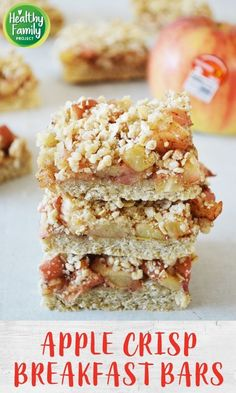 Take your breakfast on-the-go with these Apple Crisp Breakfast Bars. Just layer your ingredients and bake for a healthy, delicious way to start the day. Perfect for a make-ahead breakfast, grab and go snack or even as dessert! Recipe modifications included to make gluten-free, vegan or dairy-free. Breakfast Bars Healthy, Breakfast On The Go, Make Ahead Breakfast, Breakfast Bake, Breakfast Ideas, Apple Recipes, Fall Recipes, Baking Recipes, Fruit Recipes