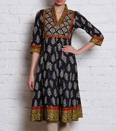 Black Bagru Printed Cotton Anarkali Kurta