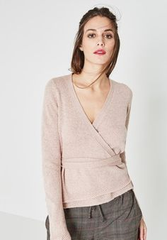 Glitzy crossover jumper - Pink - Women - Jumpers / Cardigans - Promod