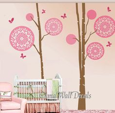 Removable Wall decals tree wall decals Nursery girl vinyl wall decal childen nature wall mural - floral tree butterfly Z159 cuma  USD87