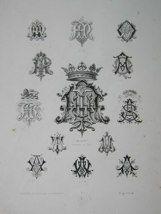 "Albert monogrammes french 19th century engraving 12 x 17"" $110"