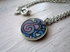 Pendant Necklace  Purple and Blue Abstract Swirl Hand by jojolarue, $25.00