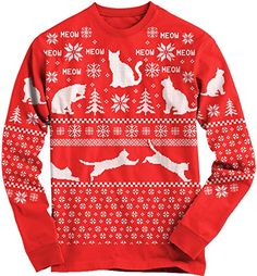 Snowflake Cat Ugly Christmas Sweater Long Sleeve Shirt Funny Xmas Tee L Crazy Dog Tshirts http://www.amazon.com/dp/B00Q71OU5C/ref=cm_sw_r_pi_dp_PZGHub1009AHJ