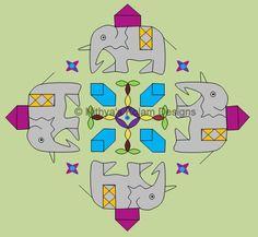Elephant Kolam for Ganesh Chaturthi