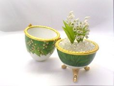 Minigarden Polymer Clay Flowers Lily of the by Mycraftgarden, $14.50
