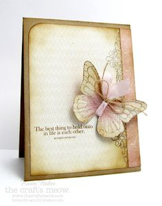 Love the ribbon/twine embellishment of this butterfly! {The Bald Dragonfly: The Softer Side}