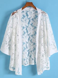 To find out about the White Floral Crochet Lace Kimono at SHEIN, part of our latest Kimonos ready to shop online today! Kimono Fashion, Hijab Fashion, Boho Fashion, Fashion Outfits, Lace Dress Styles, Blouse Styles, Simple Dresses, Casual Dresses, Diy Clothes
