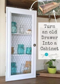 Old Drawer Cabinet - My Repurposed Life. Repurpose an old drawer and some scrap wood to make this unique chicken wire door drawer cabinet. I cabinet made out of an old drawer, brilliant! Refurbished Furniture, Repurposed Furniture, Rustic Furniture, Furniture Makeover, Furniture Decor, Antique Furniture, Furniture Refinishing, Bedroom Furniture, Chair Makeover