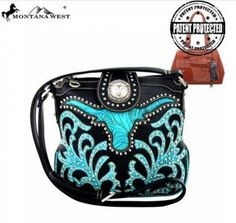 Concealed Carry Tooled Longhorn Messenger Black//Turquoise