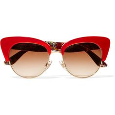 Dolce & Gabbana Cat-eye gold-tone and acetate sunglasses (12,640 INR) ❤ liked on Polyvore featuring accessories, eyewear, sunglasses, glasses, sunnies, red, retro glasses, cat eye sunglasses, retro sunglasses and oversized heart sunglasses