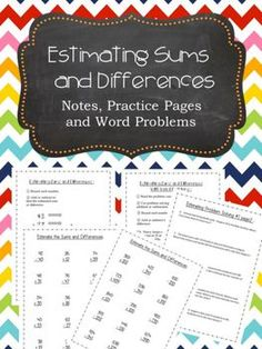 Ready to go! Notes, practice pages and word problems! Answer keys too! Everything you need to practice estimating addition and subtraction problems. Intrinsic Motivation, Teaching Math, Teaching Tips, Maths, School Fun, Summer School, School Stuff, End Of Year Activities, Fourth Grade Math
