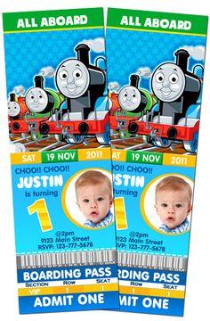 5x7 Custom Thomas the Train Birthday Party by CoastieLife on Etsy