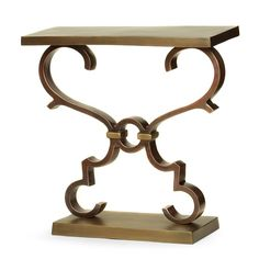 Have to have it. Prima Rectangular Table with Scrolls - Brass / Bronze - $627 @hayneedle