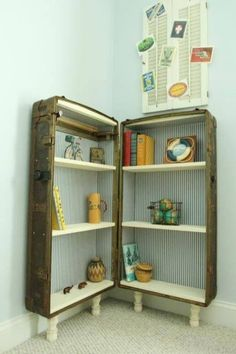 Such a great way to add storage in the corner. Vintage repurposed suit case