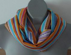 ON SALE Infinity scarf, soft cotton, stripe print, multicolor circle neck wrap, turquoise red blue orange cowl, boho, hippie, eternity scarf - €13.60 EUR