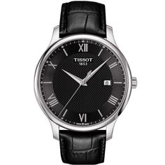 Tissot Tradition Quartz Watch with Black Dial and Black Leather Strap Cool Watches, Watches For Men, Men's Watches, Preppy Men, Black Leather Watch, Bracelet Cuir, Vintage Stil, Omega Seamaster, Color Negra