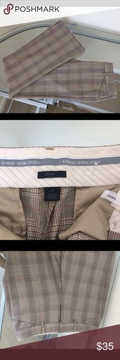 """💕Express Editor Tartan Pants💕 Beige subtle pink 💕Express Editor Tartan Pants💕 Beige subtle pink. Size 0R. Per Express sizing, waist 24.5-25.5"""", hip 35.5-36.5"""". Excellent condition, no visible signs of wear that I can see. Discontinued style. From a smoke & pet free home 🏡 No trades please 🚫 Express Pants"""