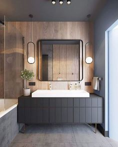 30 Cool And Modern Bathroom Mirror Ideas. 30 Cool And Modern Bathroom Mirror Ideas - Trendecora. The latest modern bathrooms are equipped with not only the necessary plumbing, but also all kinds of interior details that […] Modern Bathroom Mirrors, Bathroom Mirror Design, Grey Bathrooms, Modern Bathroom Design, Bathroom Interior Design, Beautiful Bathrooms, Modern Interior Design, Bathroom Designs, Bathroom Black