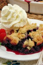 Best Ever Blueberry Cobbler by WickedGoodKitchen.com ~ The secret is in the buttery biscuit crumble topping that tastes like a cross between a buttery biscuit, pie pastry and a sugar cookie! #easy #summer #blueberries #dessert #recipe