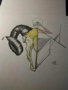 #geometry #goat #tattoo #black #traditionaltattoo