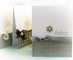 Simple and Cute: Thank You Cards or All Occasion Cards...patterned paper, ribbon and flower punch plus greeting of choice