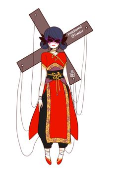 I feel like this would be Marinette if she was akumatized. Now listen to me rant real quick. From the Show we can see that the person turns into a villian that usually has to do with what Hawk Moth used to akumatize them and to be honest i don't think he would akumatize the earrings only because I think he would sense Tiki presence in them. He would most likely take over something that Marinette had in her hand like a spool of thread or a dress she was making.