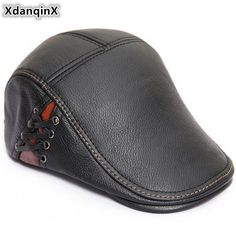 XdanqinX 2018 New Style Autumn Winter Men s Beret Genuine Leather Hat  Fashion Cowhide Warm Tongue Caps For Men Brands Flat Cap. Yesterday s  price  US  36.70 ... 8462f795baa7