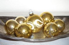 soft gold Christmas ornaments - vintage glass balls one with snowy white swirls - shabby cottage chic distressed - ornate hollywood regency by shesitsbytheseashore on Etsy
