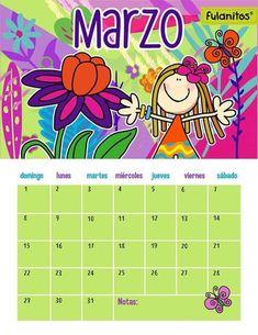 tareitas: CALENDARIO MARZO Monday Tuesday Wednesday, Notes, Album, Humor, Children, Ely, Moths Of The Year, Blank Calendar, Birthday Calender
