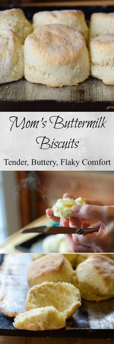 A tender buttery biscuit with a slightly crisp outer layer,fluffy, hot and steamy on the inside. Mom's Buttermilk Biscuits have always been the best biscuit I have ever eaten. #SundaySupper