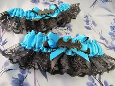 Bride's & Toss Garter set with All Black Batman Logo made in CUSTOM COLORS to match wedding color scheme Geeky Comic Book Superhero Wedding on Etsy, $45.00
