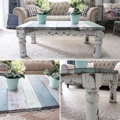 I am so loving this Salvage Inspired Coffee Table!! The Debra, $295 measures 48x30x18. Painted in Sweet Pickins Milk Paint and sealed. I used Moody Blue, Sweetie Jane, Flour Sack and Creamy.