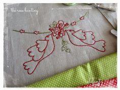 The Rose Bunting by Jenny of Elefantz - inside the May 2015 Stitchery Club.