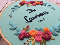 Embroidery Hoop Art,Wedding Gift, Broderie, Personalized Gift, Couple's Name, Anniversary Gift, Custom Embroidery, Floral Embroidery, Fiber by zezehandcraft on Etsy https://www.etsy.com/listing/615127314/embroidery-hoop-artwedding-gift-broderie