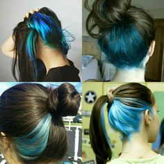 Long Hair Highlights, Hair Color Streaks, Hidden Hair Color, Cool Hair Color, Hair Dyed Underneath, Half Dyed Hair, Peekaboo Hair, Dip Dye Hair, Aesthetic Hair