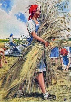 German woman working for you WW II German propaganda Vintage Postcards, Vintage Images, Vintage Art, Ww2 Posters, Nazi Propaganda, Soviet Art, Cartoon Styles, Art World, Drawings