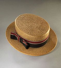 1890 ca. Boater Hat English  Straw, silk, by Lincoln Bennett and Company's Hats. Worn in summer, particularly fashionable at the turn of the 19th and 20th centuries, although continued to be worn for much longer. museumofcostume.co.uk