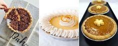 Pecan-oatmeal pie (The Upper Crust/Facebook); Arizona orange pie (Piefection); pumpkin custard pie (Hawaiian Pie Company/Facebook).