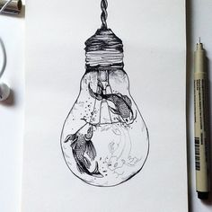Art Drawings Sketches Simple, Pencil Art Drawings, Cool Drawings, Frosch Illustration, Light Bulb Art, Light Bulb Drawing, Drawn Fish, Bottle Drawing, 1 Tattoo
