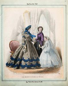 Moniteur de la Mode, September 1861.  Civil War Era Fashion Plate