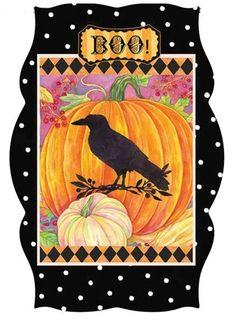 "Frightful Delights Raven Sculpted Garden Flag Halloween Pumpkins 12.5"" x 18"" #ImperialCollection"