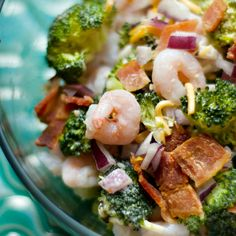 Because of our love for broccoli, we took a classic broccoli salad recipe and added a spin of bacon and shrimp, to create a Bacon Shrimp Broccoli Salad.