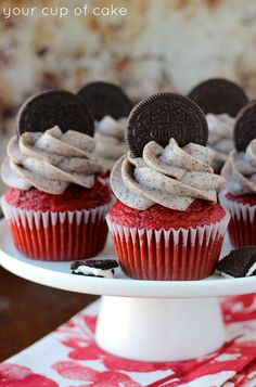 Oreo Red Velvet Cupcakes made with sour cream!