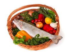 images of fresh meats, fish, and vegetables | Basket of Fish and Fresh Vegetables
